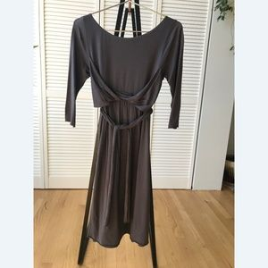 Anthropologie Grey Midi Cotton Dress